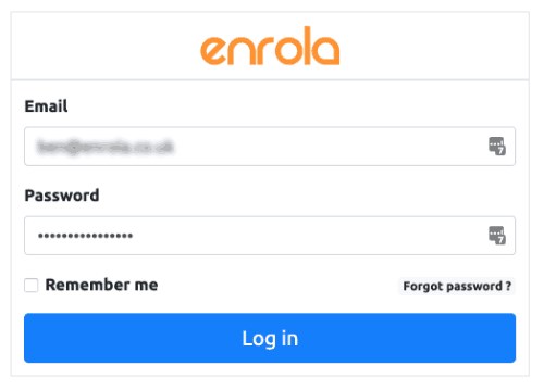 enrola login screen